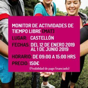Monitor/a de Actividades de Tiempo Libre Educativo Infantil y Juvenil (MAT) - Castellón, 2019